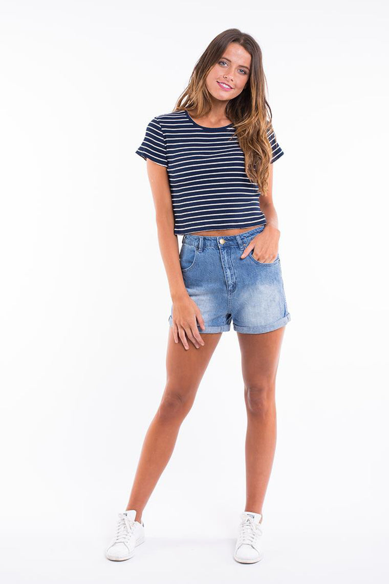 ALL ABOUT EVE Dahlia Tee Navy Stripe 33065