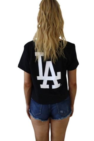 MAJESTIC ATHLETIC Camila Cropped Tee LA Dodgers Black 33044