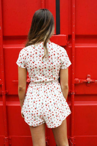 ASHA Crush On You Playsuit White Red Floral 34814