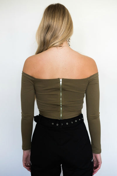 LUVALOT Hannah Off-Shoulder Tie Top Khaki 34084