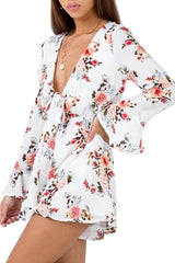 LUVALOT Josie Floral Playsuit Light White 34217