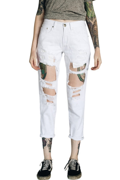 TOKYO JOE DENIM CO My Boyfriends Jeans White Denim 32100