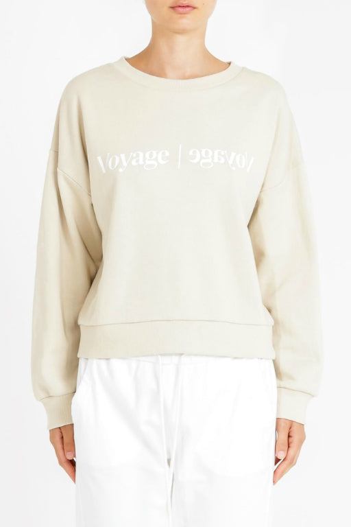 NUDE LUCY Voyage Slogan Sweat Sand 34034