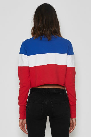 NENA AND PASADENA Spark Cropped Sweater Blue/Red/White 34113