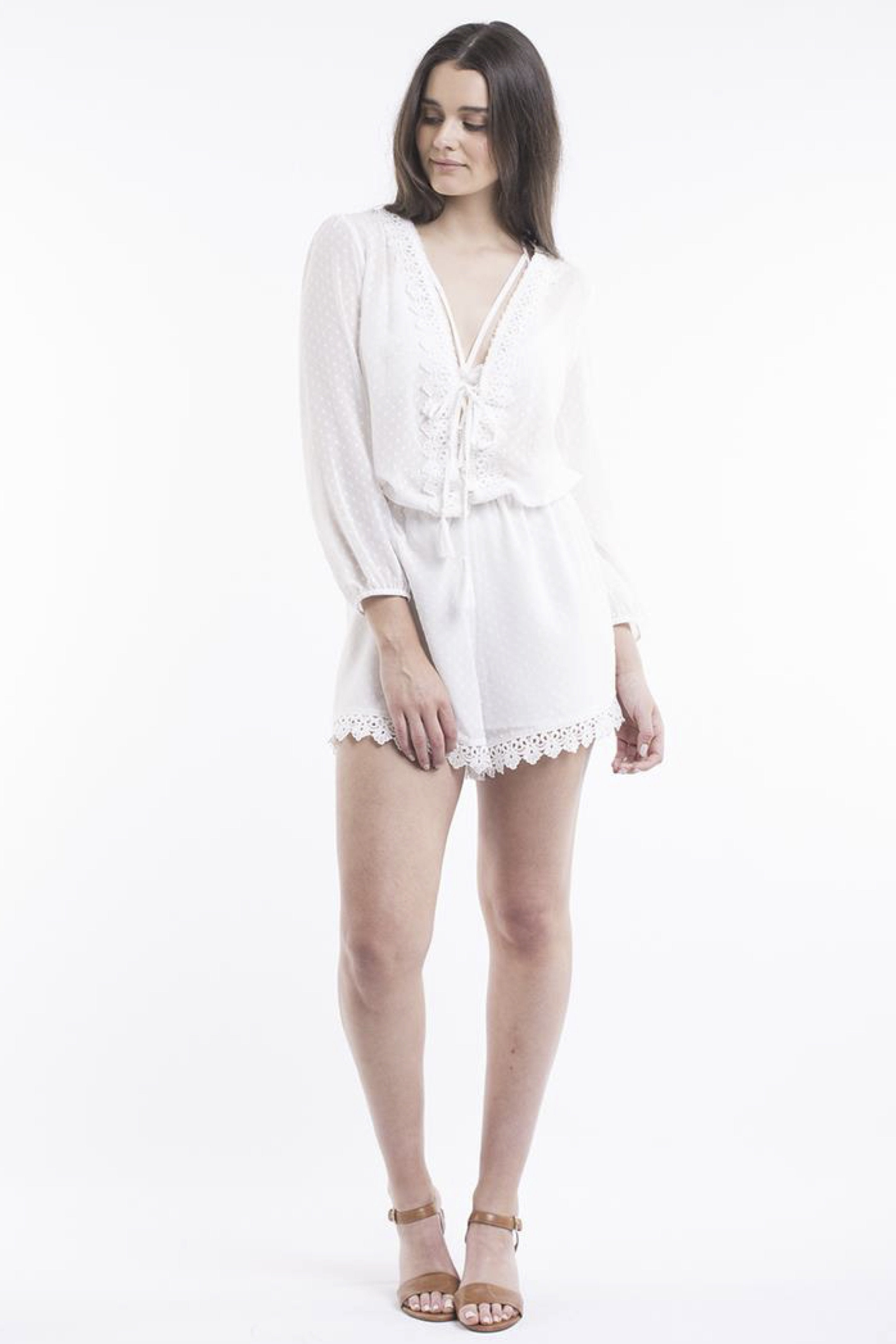 JORGE Polka Playsuit White 33019