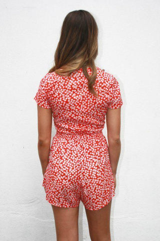 ASHA Crush On You Playsuit Red/White Print 34814