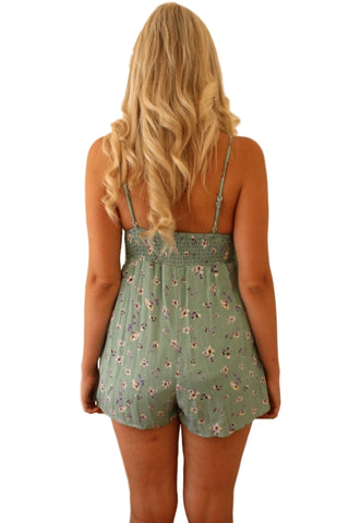ASHA Tamara Playsuit Green Floral 32910