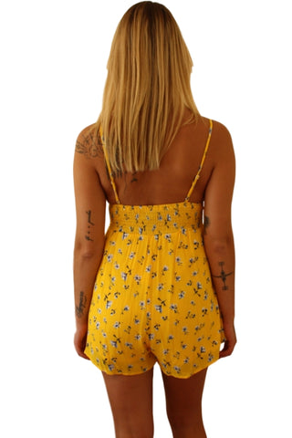 ASHA Tamara Playsuit Yellow Floral 32910