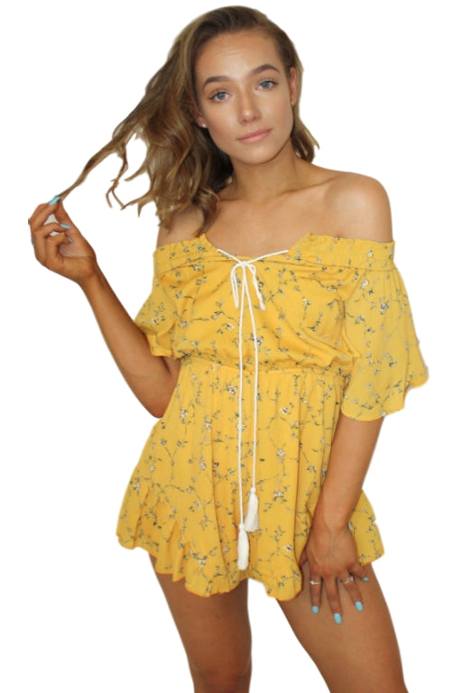 ASHA Thousand Suns Playsuit Mustard 32480