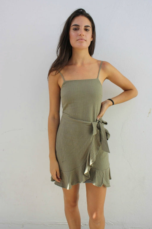 ASHA Vittoria Linen Dress Khaki 33111
