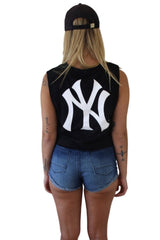MAJESTIC ATHLETIC Montana Cropped Muscle Yankees Black 33045