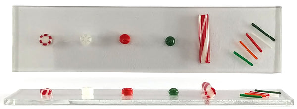 fused glass at 1375 degrees, with murrine, dots, frit balls, cane, and stringfetti