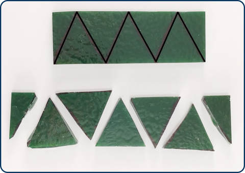 sheet glass cut into triangles