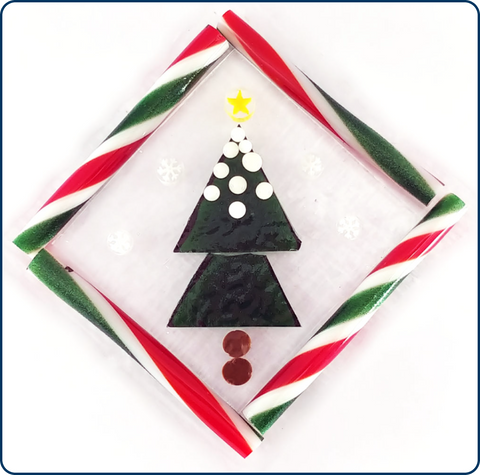 unfused glass christmas ornament with murrine and zanfirico cane