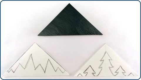 cut sheet glass triangle and powdered glass stencils