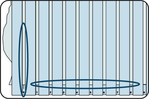 Illustration showing the marks on a speedguide