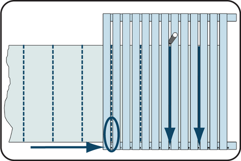 Illustration showing moving the speedguide to cut longer glass