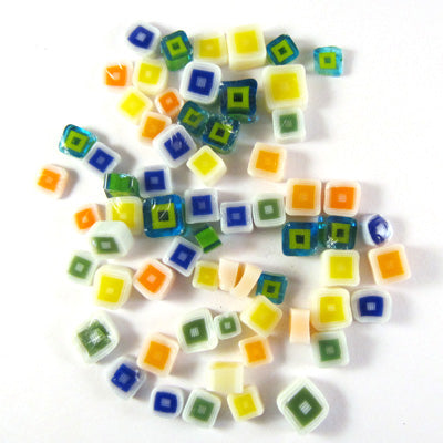 Hip to be Square Assorted Mix SQ01-SQ05 Murrine ASRT-SQ1 Millefiori COE 90 Glacial Art Glass