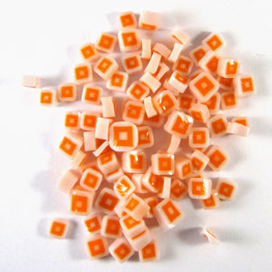 Orange & White Hip to Be Square Murrine SQ03-96 Millefiori COE 96 Glacial Art Glass