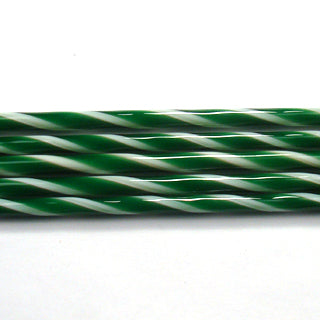 C103 Kelly Green and French Vanilla Striped Cane COE 90 Glass