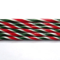 C104 Aventurine Green, Red, and French Vanilla Striped Cane COE 90 Glass