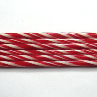 C105 Red and French Vanilla Striped Cane COE 90 Glass