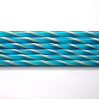 C106 Turquoise and French Vanilla Striped Cane COE 90 Glass