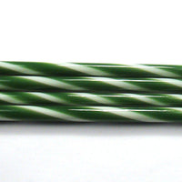 C112 Forest Green and French Vanilla Striped Cane COE 90 Glass