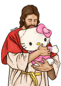 JESUS LOVES HELLO KITTY SIGNED A3 PRINT