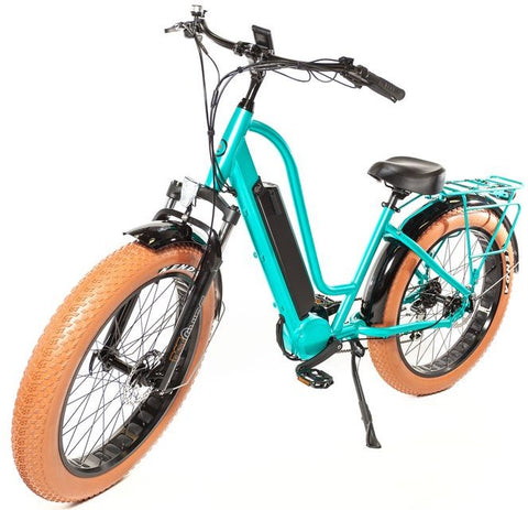Biktrix Stunner-X 750W 48V Cruiser Fat Tire Mid Drive Step Through eBike Caribbean Green Left Side Angle