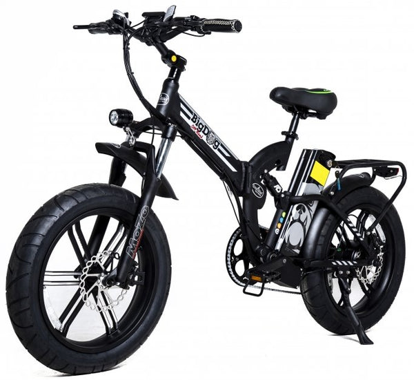 GreenBike - Electric Motion Big Dog Off Road 2021 Edition 750W 48V Fat Tire Folding eBike Black and Silver Left Side Angle