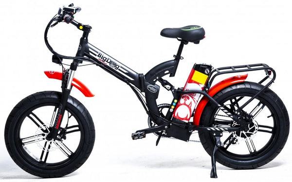 GreenBike - Electric Motion Big Dog Off Road 2021 Edition 750W 48V Fat Tire Folding eBike Black and Red Silver Logo Left Side