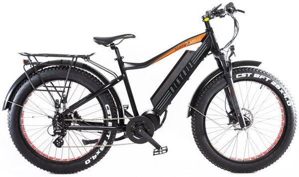 Biktrix Juggernaut Classic Fat Tire Mid-Drive eBike Black with Orange Accent