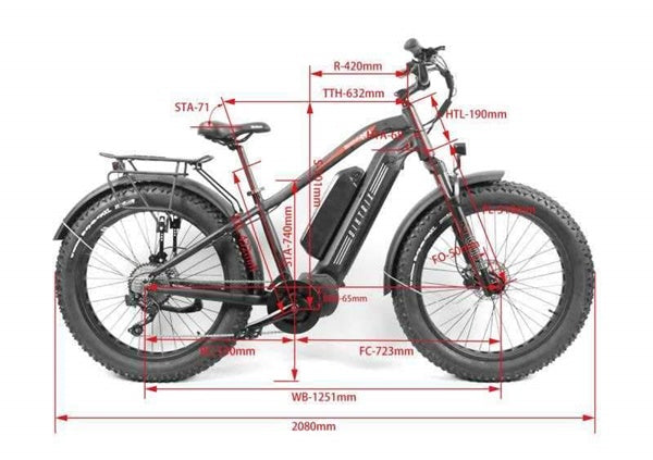 Biktrix Juggernaut HD Duo Fat Tire Mid-Drive eBike Bike Geometry