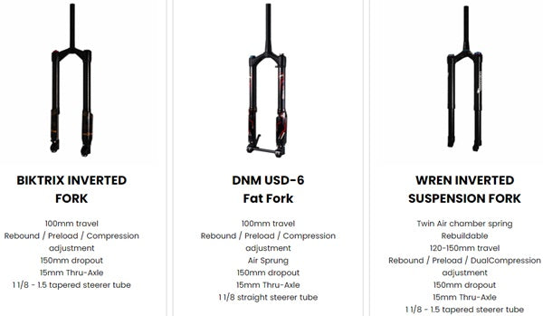 Biktrix Juggernaut Ultra 1000W Pro Fat Tire Mid-Drive eBike Fork Options