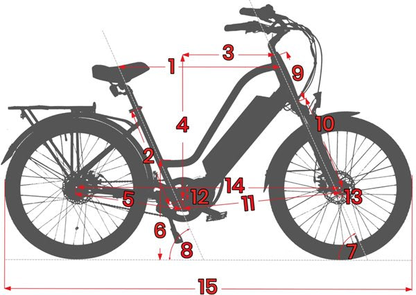Biktrix Kutty LT 500W 48V Folding Fat Tire eBike Geometry