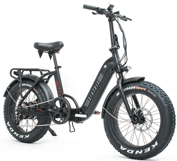 Biktrix Kutty LT 500W 48V Folding Fat Tire eBike Satin Black Right Side Angle