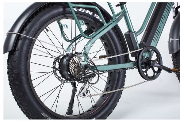 Biktrix Stunner LT 750W Fat Tire Step Through Cruiser eBike Fenders and Rack