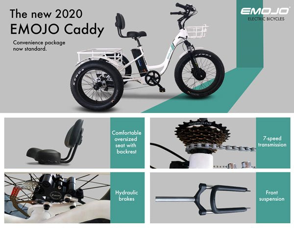 Emojo Caddy Pro Fat Tire 500W 48V Electric Tricycle Flyer