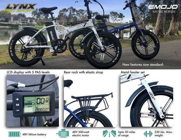 Emojo Lynx Pro Sport 500W 48V Folding Fat Tire eBike Features