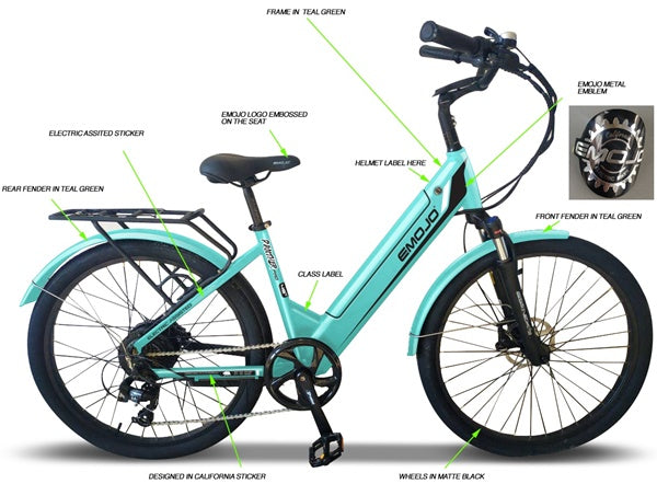 Emojo Panther Pro 500W 48V Hybrid Cruiser Step-Through eBike Teal Chart