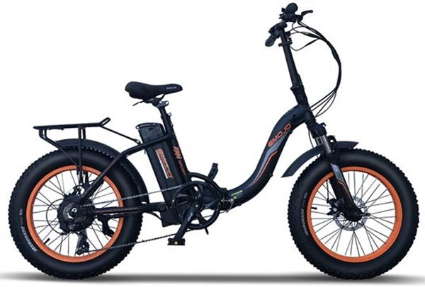 Emojo Ram Sport SS 750W 48V Folding Fat Tire Step-Through eBike Black and Orange Right Side