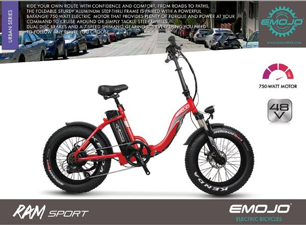 Emojo Ram Sport SS 750W 48V Folding Fat Tire Step-Through eBike Features