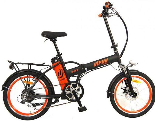 GreenBike - Electric Motion Alpha Speed 250W 36V Folding eBike Matte Black with Orange Rims Right Side