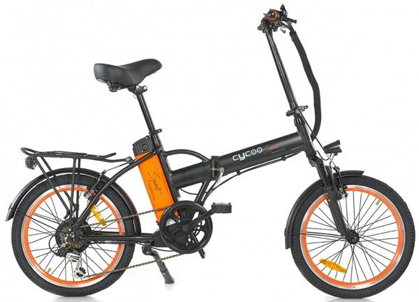 GreenBike - Electric Motion Cycoo Spirit 250W 36V Folding eBike MatteBlack and Orange Right Side