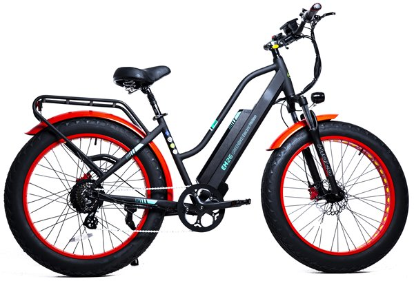 GreenBike - Electric Motion EM26 2021 Edition 750W 48V Fat Tire Step-Through Hybrid eBike Black and Red Right Side Angle