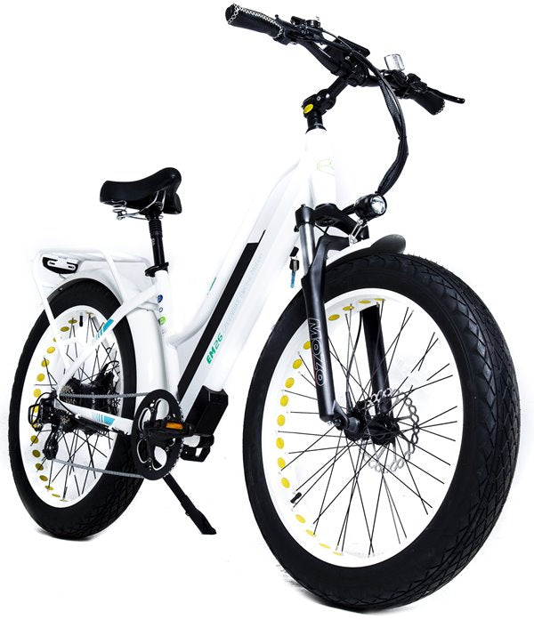 GreenBike - Electric Motion EM26 2021 Edition 750W 48V Fat Tire Step-Through Hybrid eBike White Right Side Angle