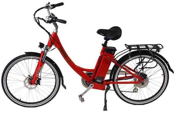 Green Bike USA GB2 Beach Cruiser Step-Through eBike Red Left Side
