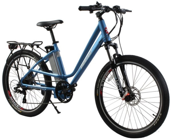 X-Treme Trail Climber Elite Max 350W 36V Step-Through Commuter Mountain eBike Metallic Blue Right Side