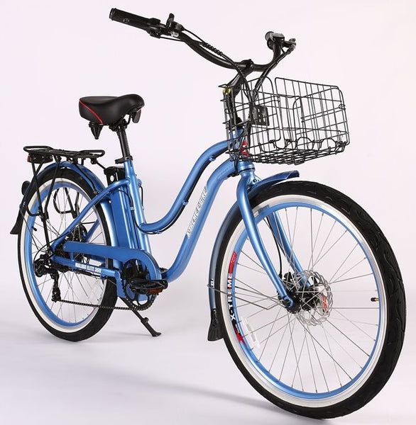 X-Treme Malibu Elite Max 36 Volt Step Through Beach Cruiser Comfort eBike Baby Blue Right Side Angle